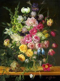 Beauty & Birds - oil painting by Yana Movchan Art Floral, Illustration Blume, Renaissance Paintings, Galerie D'art, Still Life Art, Art For Art Sake, Fine Art Gallery, Botanical Prints, Oeuvre D'art