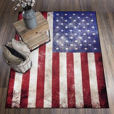 This FloorDecor USA  American Flag area rug is perfect for anyone looking to add a little more patriotism to their home. It's big enough to fit perfectly at the foot of your couch or bed or it could even be the centerpeice to your favorite room. #rugs