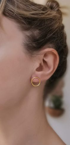 Front circle hoop earrings Small circle earrings, Open circle earrings, Circle Stud earrings Open hoops Everyday earrings Gift for her Butterfly Earrings, Circle Earrings, Gold Earrings, Small Circle, Circle Shape, Jewlery, Jewelry Box, Antibacterial Soap, Carat Gold