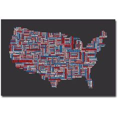 Trademark Art US Cities Text Map Canvas Wall Art by Michael Tompsett, Size: 16 x 24, Multicolor