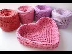 Корзинка сердце из трикотажной пряжи - YouTube Youtube, Knitting Yarn, Super, Baby Shoes, Basket, Crocheted Bags, Clothes, Fashion, Chrochet