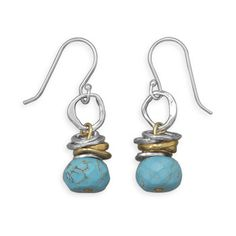 Two Tone Turquoise Drop Earrings from Bonita Moda Boutique