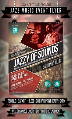 Jazz Music Event Flyer #club #deluxe Download : https://graphicriver.net/item/jazz-music-event-flyer/13810432?ref=pxcr