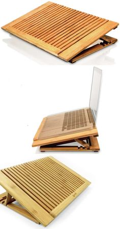 Adjustable Bamboo  Laptop Cooling Fan Table Stand for Apple MacBook & Laptops