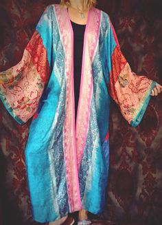 Boho Kimono Pink Mercury Coat Gypsy India Silk Sari by HippieWild
