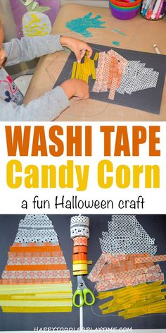 Washi Tape Candy Corn Craft - HAPPY TODDLER PLAYTIME This fun and Washi Tape Candy Corn Craft is a great fine motor and scissor skills activity to do at Halloween with toddlers and preschoolers! Halloween Activities For Kids, Creative Activities For Kids, Halloween Crafts For Kids, Toddler Halloween, Craft Projects For Kids, Crafts For Kids To Make, Autumn Activities, Halloween Fun, Kids Crafts
