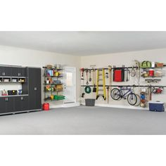 Thinking of a garage makeover? We have nine smart garage design ideas for you. From a home theatre to a game room -- turn your garage into anything Garage Organization Systems, Garage Storage, Organization Hacks, Storage Spaces, Storage Ideas, Organizing Tips, Bike Storage, Storage Solutions, Storage Systems