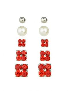 Elegant Imitation Pearl Red  Crystal Small Stud Earrings Set