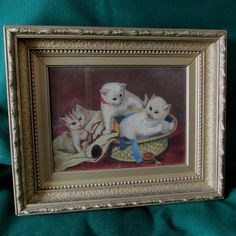 Primitive Antique Folk Art Oil Painting of 3 Kittens in Sewing Basket, Cats