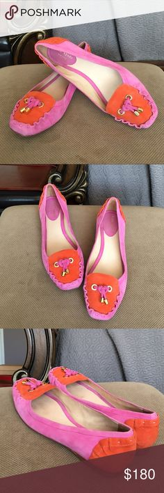 Kate Spade NY Suede orange/pink Flats Super cute pink suede Flats with orange suede ruffled heel, complete with gold toned accents. It's perfect for the look that feels casual yet still very polished. In perfect condition, did not use them much at all. kate spade Shoes Flats & Loafers