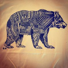 Bear Tattoo. Similar to how I want to fill out my elephant.