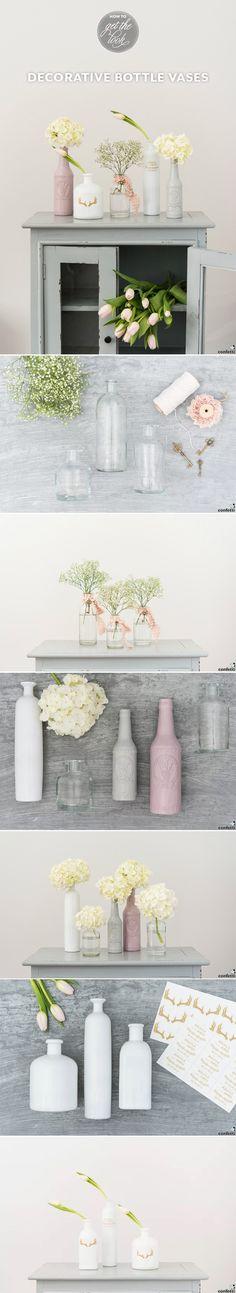 DIY: Decorative Bottle Vases   DIY wedding ideas   #DIY #Wedding   Confetti.co.uk