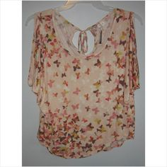 Ladies multi-colored butterfly shirt, Size-Extra Small
