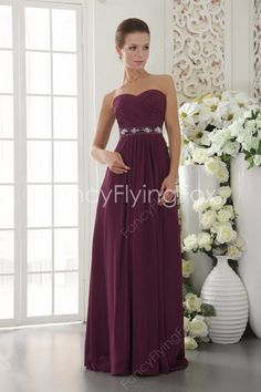 fancyflyingfox.com Offers High Quality Noble Shallow Sweetheart Neckline A-line Floor Length Grape Chiffon Bridesmaid Dresses 2014,Priced At Only US$169.00 (Free Shipping)