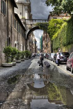 This is the street our flat is on, this bridge is just down the road from us!!!    via giulia   Rome, Italy