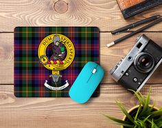 Rubber clan crest mousemat with MacLennan clan crest and tartan - only from ScotClans