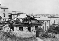 Commissariat Store, William Street, Brisbane, 1913 -  The Commissariat Store under reconstruction.  This is the second oldest remaining convict built structure in Brisbane.