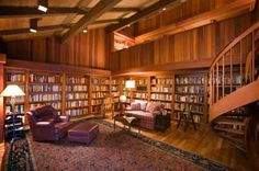 Library Furniture - Library furniture like bookshelves will allow you to enjoy your home library. Read what other library furniture you might want in your home library. Beautiful Library, Dream Library, Beautiful Homes, Cozy Library, Library Ideas, Home Library Design, House Design, Library Bookshelves, Bookcases