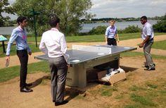 Playing table tennis near Caldecotte Lake in Milton Keynes