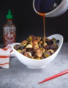 Honey Sriracha Roasted Brussels Sprouts | Community Post: 19 Mouthwatering Ways To Eat Brussels Sprouts