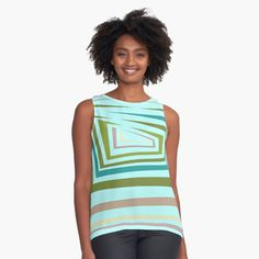 Green And Grey, Blue And White, White White, Shops, Green Turquoise, Aqua, Green Stripes, Casual Tops, Chiffon Tops