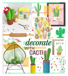 """""""decorate with CACTI"""" by cutandpaste ❤ liked on Polyvore featuring interior, interiors, interior design, home, home decor, interior decorating, Imm Living, Sunnylife, Americanflat and Wrap"""