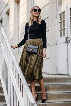ee0855d2e0ef A pleated midi skirt is essential for fall and this one from Neiman Marcus'  CUSP department looks effortlessly chic with a cozy sweater and heels.
