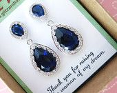 Items similar to Jensine - Luxe Sapphire Cubic Zirconia Teardrop Earrings Bridal shower gifts Brides Bridesmaid Sterling Silver Post Wedding Jewelry on Etsy