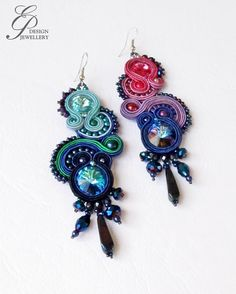 Mystical midnight Soutache earrings, fuchsia-turquoise swarovski earrings, unique soutache earring