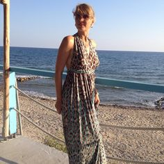 @ioannamakri wearing a printed maxi dress by Elena Chalati