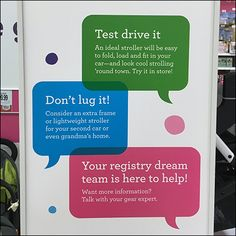 Departmental color codes echo down into the design of helpful signage and the official Babies R Us® Guide to Strollers. Speech Balloon, Color Codes, Babies R Us, Strollers, Signage, Literature, Stationery, Retail, Coding