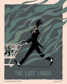 The Last Laugh poster for Batman The Animated Series by George Caltsoudas Batman Poster, Batman Art, Joker Batman, Superman, Bruce Timm, Catwoman, Dc Comics, Comic Art, Comic Books