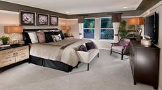 Traditional Master Bedroom with Alpine Furniture Chesapeake Sleigh Bed, Restoration Hardware Lyon Chair, Carpet