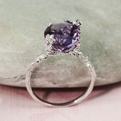 ***This pin is now closed; a winner has been selected for this round*** Sterling Silver Oval Amethyst Ring