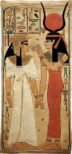 The goddess Isis and Queen Nefertari, wife of Ramesses II, 19th dynasty