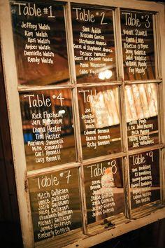 Seating chart glass