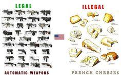 Armi automatiche legali e formaggi illegali in America