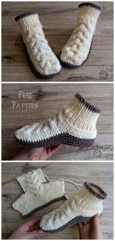 Super Soft Cozy Slippers Free Knitting Pattern - Russian and English - sport wei. Super Soft Cozy Slippers Free Knitting Pattern - Russian and English - sport weight yarn Knit Cable Baby Boot. Knitting Designs, Knitting Patterns Free, Knit Patterns, Free Knitting, Designer Knitting Patterns, Afghan Patterns, Baby Patterns, Knit Slippers Free Pattern, Knitted Slippers