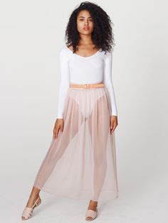Ballet pink long sheer chiffon skirt from American Apparel. #asia