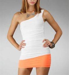 White\ Orange One Shoulder Ruched Dresses :: www.windsorstore.com