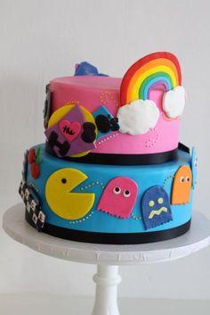 I love the Rainbow Pac man cake 80s Birthday Parties, 80 Birthday Cake, Birthday Ideas, 21st Party, Man Birthday, Prom Party, Happy Birthday, Mini Tortillas, Beautiful Cakes