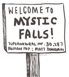 Welcome to Mystic Falls! Human Population: Matt Donovan. Vampire Diaries Lol perfect!
