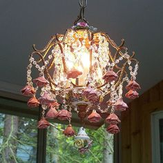 Vintage Capodimonte Porcelain Roses Chandelier by sheriscrystals, $489.95