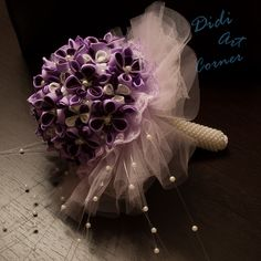 a028ea73e10 Bouquet - Dark and Light Purple with White Wedding Bouquet
