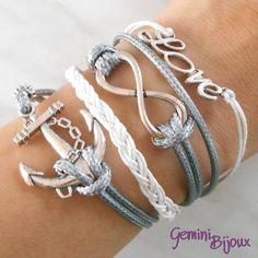 Bracciale multifile grigio in corda con ancora, love, infinito e treccia, by Gemini Bijoux, 5,00€ su misshobby.com