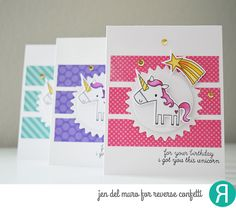 Card by Jen del Muro. Reverse Confetti stamp set: Unicorn Wishes. Confetti Cuts: Unicorn Wishes and Flowers for Mom. Quick Card Panel: So Very Spring. Birthday card. Unicorns.