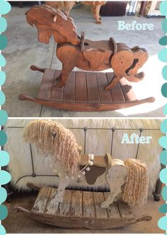 Antique Rocking Horse makeover for nursery. Annie Sloan chalk paint Old Ochre with clear wax and dark wax. Finished with leather saddle, Pom Pom reins, and yarn mane and tail. Wood Rocking Horse, Antique Rocking Horse, Wooden Horse, Diy Furniture Projects, Craft Projects, Woodworking Projects, Horse Mane, Farm Crafts, Annie Sloan Chalk Paint