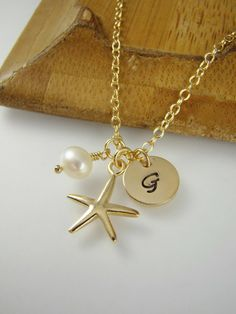 Dainty Flower Girl Gift Gold Starfish Initial Necklace by ShinyLittleBlessings, $18.00 Flower Girl Jewelry, Flower Girl Gifts, Starfish Necklace, Gold Necklace, Personalized Bridesmaid Gifts, Beach Themes, Wedding Jewelry, Initials, Initial Necklaces