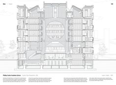 """Studying the """"Manual of Section"""": Architecture's Most Intriguing Drawing,Phillips Exeter Academy Library by Louis I. Kahn (1972). Published in Manual of Section by Paul Lewis, Marc Tsurumaki, and David J. Lewis published by Princeton Architectural Press (2016). Image © LTL Architects"""