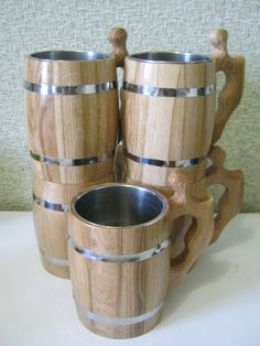 5 Wooden Beer mugs 0,8 l (27oz) , natural wood, stainless steel inside,groomsmen gift